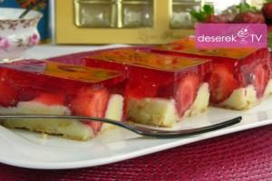 Sernik z Truskawkami, ciasto grysikowe z truskawkami,